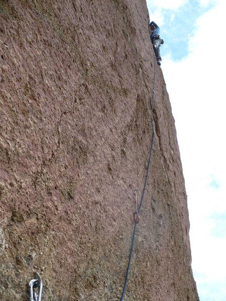 Rock Climbing Photo: Kara leading the third pitch.