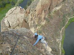 Rock Climbing Photo: Kara topping out on the only good rock of the last...