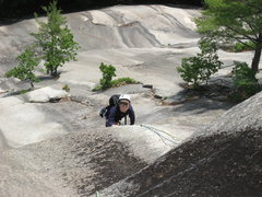 Rock Climbing Photo: My 7 year old just over the crux of the route