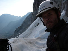 In the sierras, just about to start N. Buttress of Mt Goode, summer 2010
