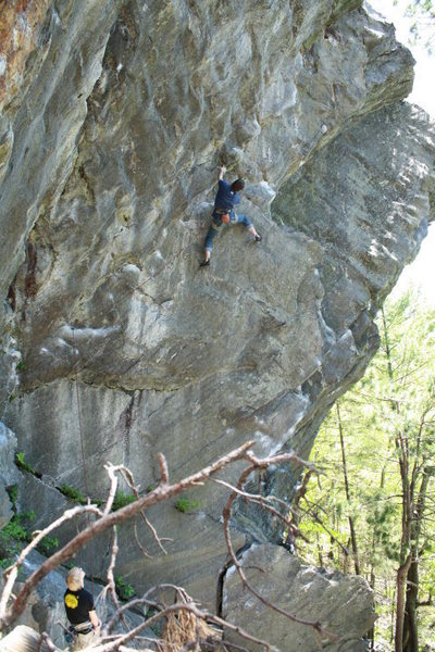 Rock Climbing Photo: Me high up on Peer Pressure
