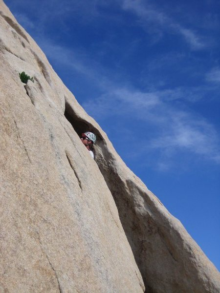 Rock Climbing Photo: about to enter the crux on the first pitch of over...