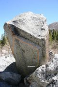 Rock Climbing Photo: The Batter Boulder west face topo