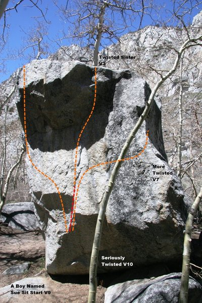 Rock Climbing Photo: The Boy Named Sue Boulder east face topo