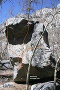 Rock Climbing Photo: The Boy Named Sue Boulder east face topo