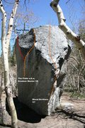 Rock Climbing Photo: The Boy Named Sue Boulder south and west face topo