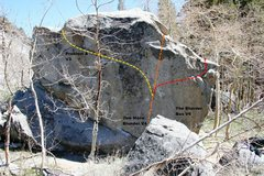 Rock Climbing Photo: Clearcut Boulder south face topo