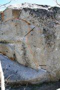 Rock Climbing Photo: Clearcut Boulder south face left topo
