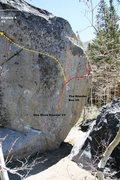 Rock Climbing Photo: Clearcut Boulder south face right topo