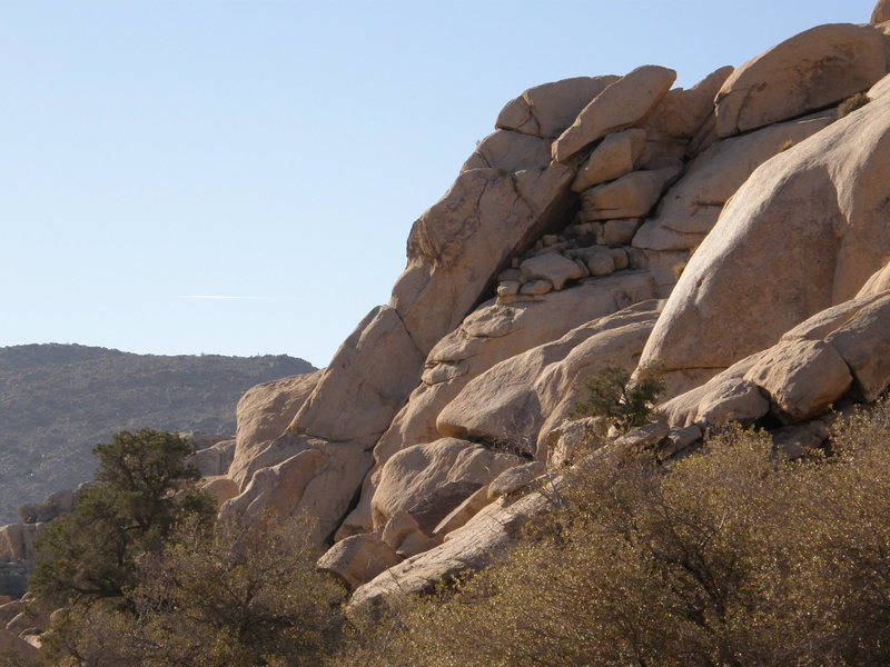 Rock Climbing Photo: Right up the skyline in this picture to the steep ...
