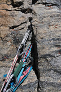Rock Climbing Photo: At the anchor at the top of pitch 4, I would recom...