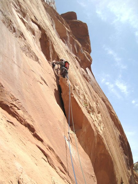 Rock Climbing Photo: Lance on top of the spiked block.First  pitch.