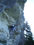 Rock Climbing Photo: JP enjoying the great exposure and big horizontals
