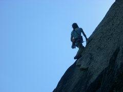 Rock Climbing Photo: Rhoads contemplates the Beast Flake.