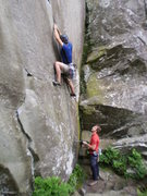 Rock Climbing Photo: The short but sweet Harpoon. Me onsighting.