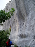 Rock Climbing Photo: route names are painted on the wall