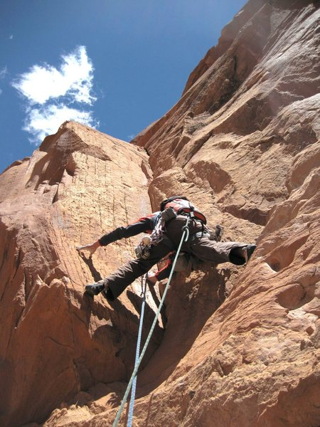 Rock Climbing Photo: Starting the groove. A superb pitch