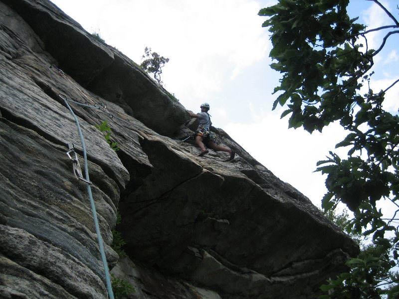 Rock Climbing Photo: Amit at the end of the traverse on the third pitch...