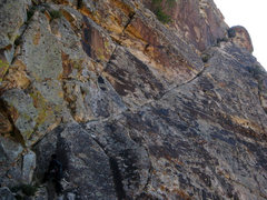 Rock Climbing Photo: final exposed ramp leading to the class 2 jaunt to...