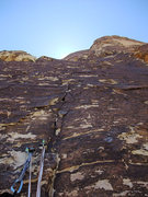Rock Climbing Photo: looking up the 5.7 pitch at the top of Black Tower