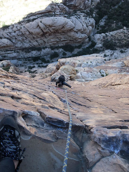 Rock Climbing Photo: Jascha on the 5.9 pitch above Elephant's Trunk
