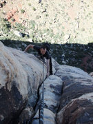 Rock Climbing Photo: topping out on our second pitch (we combined P2 an...