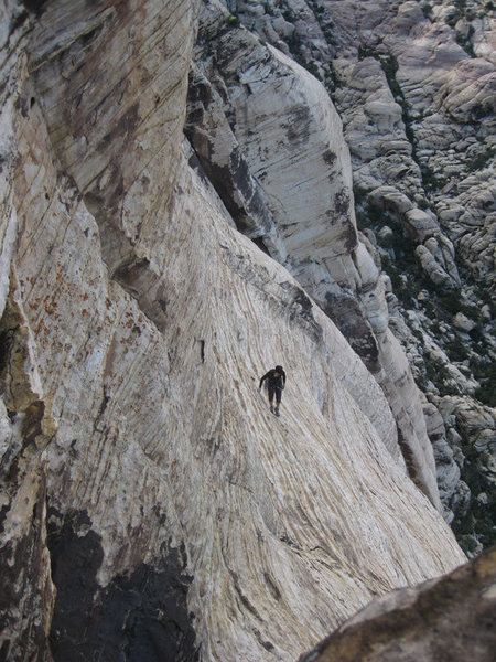 the easy class 5 slabs leading to the top of the route