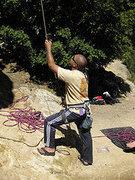 Rock Climbing Photo: Dyno Dan belays at Goat rock.