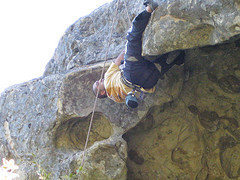 Rock Climbing Photo: Going for the 5.10d roof at CRSP.