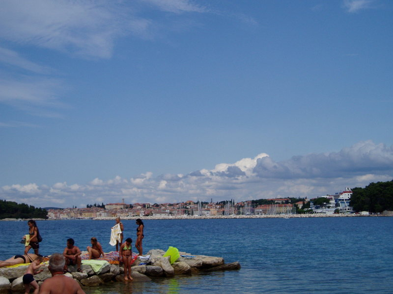 Looking toward Rovinj from the beach on the way to the crags