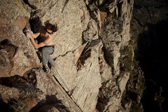 Rock Climbing Photo: Running out the top of Aces and Eights Photo By Da...