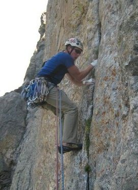 The 3rd pitch of Caveat Emptor in the Tetons.