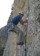 Rock Climbing Photo: The 3rd pitch of Caveat Emptor in the Tetons.