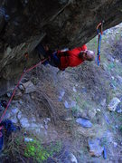 Rock Climbing Photo: In the middle of the first crux of Tater Tot.  Pho...