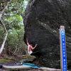 """Steve Lovelace on """"Indian Outlae""""(V-4) on the Rock House Boulder, Olympus (Picnic) Area, ghsp"""