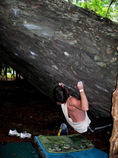 "Rock Climbing Photo: Steve Lovelace on ""Aftershock"" (V-6), Ol..."