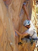 Rock Climbing Photo: Tristan leading Squeakeasy; me getting ready to ca...