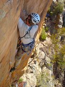Rock Climbing Photo: Tristan leading Squeakeasy -- just before a fall ....