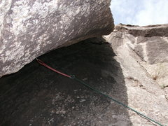 Rock Climbing Photo: Good gear midway up the X chimney.  Gold offset nu...