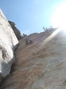 Rock Climbing Photo: Me leading Dire Direct