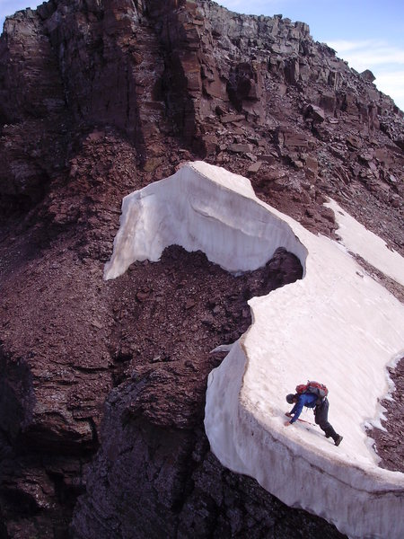 Rock Climbing Photo: Playing on a cornice, NE Ridge, Pyramid Peak.