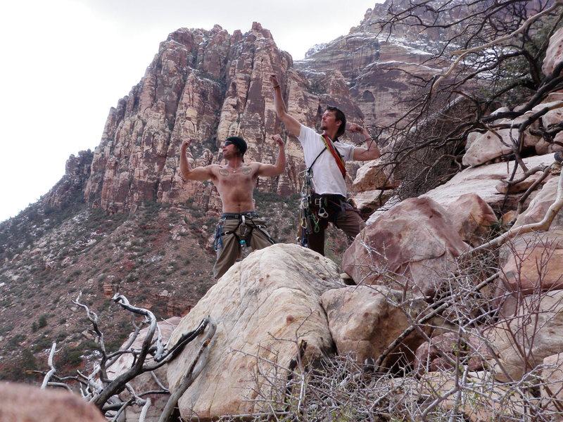 Myself and Pirate Dan being idiots post-climb.