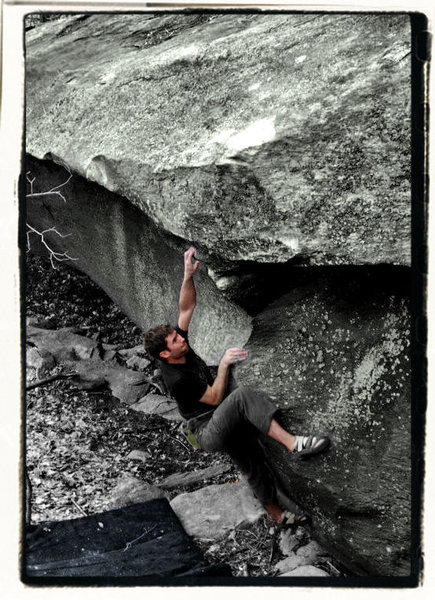 """Thews"" (v6) in the boneyard area in Grayson Highlands State Park, Virginia"