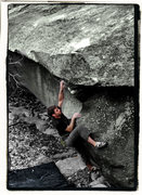 "Rock Climbing Photo: ""Thews"" (v6) in the boneyard area in Gra..."