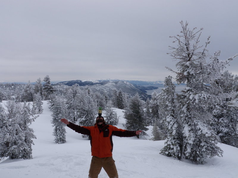 Had a bottle of 2 buck chuck for lunch while 'shoeing up Chickadee Ridge which overlooks Lake Tahoe.