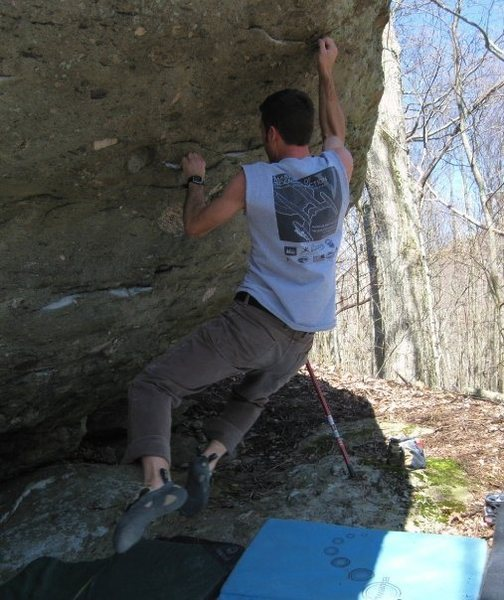 """Rock Climbing Photo: """"Parlier's Problem"""" (v7) in the AVP Area..."""