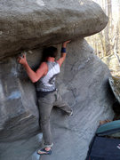 "Rock Climbing Photo: Steve on ""Cupole Press"" (v5) on the Cupo..."