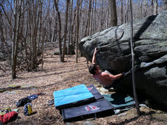 """Rock Climbing Photo: Steve on """"Tilt-o-Whirl"""" (v2) on the Tilt..."""