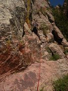 Rock Climbing Photo: The opening terrain of P3, after the 5.8 var of P2...