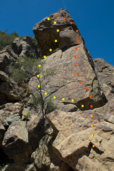 Yellow: Tee it Up (5.7+)<br> Red: Seven Steps (5.10a)
